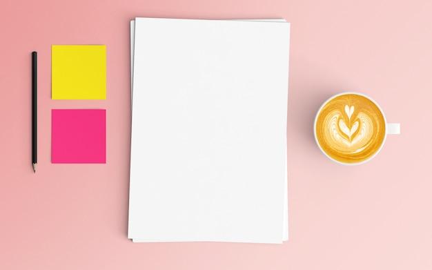 Area di lavoro moderna con tazza di caffè e documenti in bianco su colore rosa