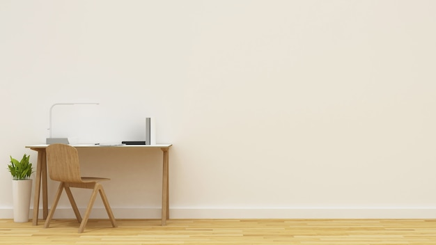 Area di lavoro nella stanza bianca - rendering 3d