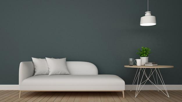 Area soggiorno nella caffetteria o lounge - rendering 3d