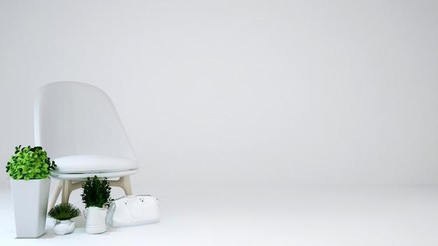 Area soggiorno o area relax su sfondo bianco - rendering 3d