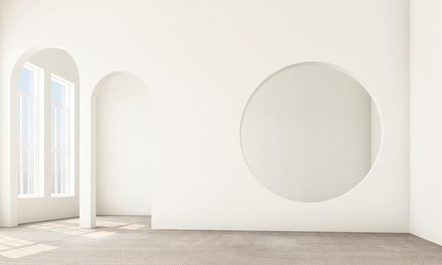 Area vivente e camera da letto astratte di interior design con gli elementi architettonici nel tono bianco circolare