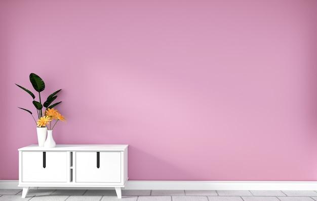 Armadietto da tavolo nella moderna stanza vuota rosa, disegni minimali, rendering 3d
