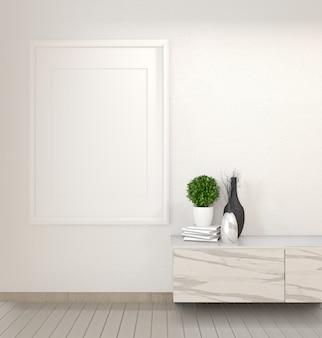 Armadietto in granito nella moderna stanza vuota zen, disegni minimal. rendering 3d