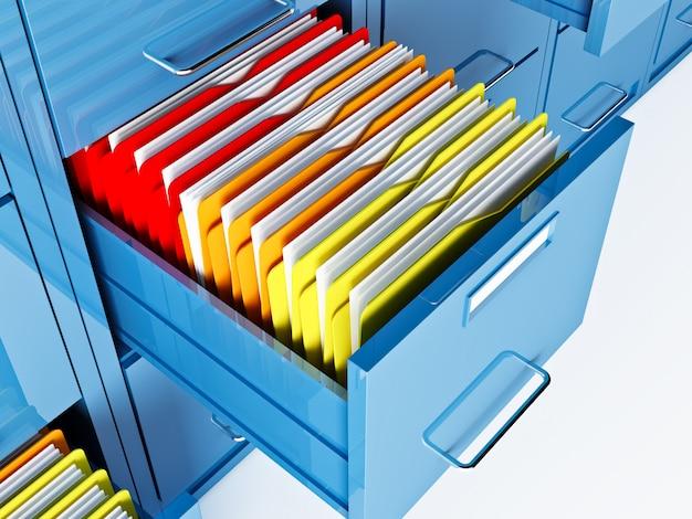 Armadio e cartelle di file blu 3d