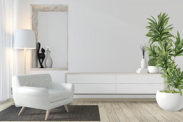 Armadio in stile zen su moderna sala zen e decorazioni. rendering 3d