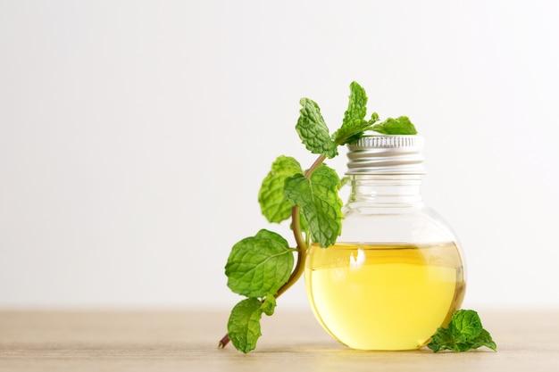 Aroma olio essenziale da una menta piperita in bottiglia