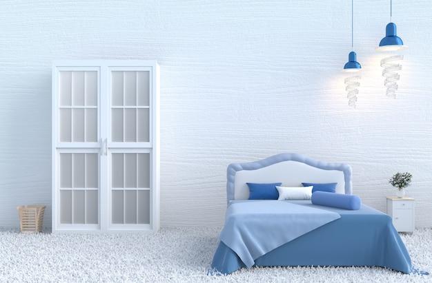 Arredamento camera da letto bianca con il giorno di natale e capodanno. rendering 3d