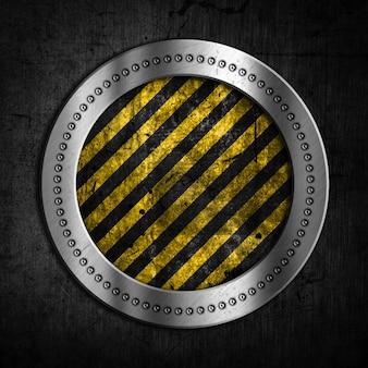 Arrotondato con strisce gialle sfondo forma metallica