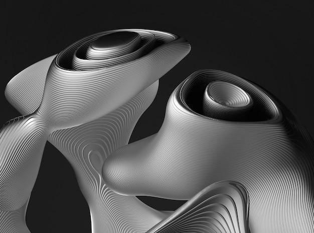 Arte 3d con parte dell'oggetto sferico surreale bianco e nero monocromatico in curva organica