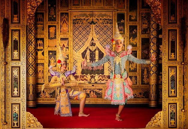 Arte cultura tailandia ballando in khon mascherato nella letteratura ramayana,