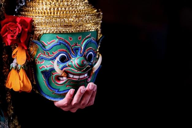 Arte cultura thailandia ballando in khon mascherato in letteratura ramayana