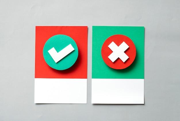 Arte del mestiere di carta di controllo e segni incrociati