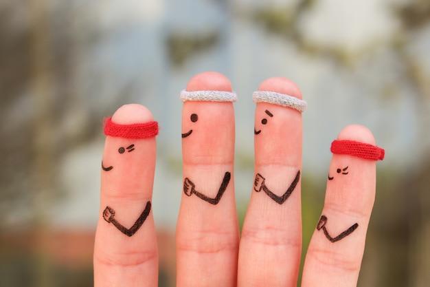 Arte delle dita di una famiglia felice nello sport. il concetto di persone corre.