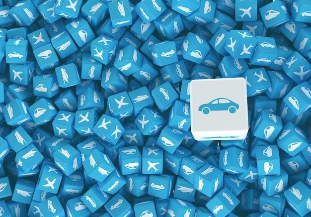 Arte di concetto sull'illustrazione di consegna 3d del carico e di viaggio