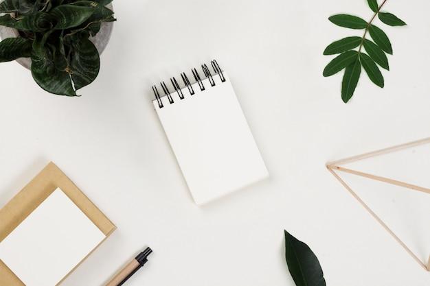 Articoli per ufficio sparsi e foglie sul tavolo