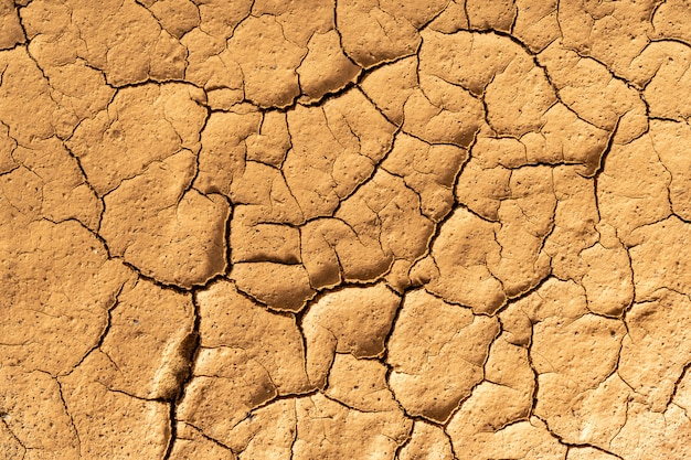 Asciugare la trama di argilla screpolata. conseguenze del riscaldamento globale. cambiamento climatico