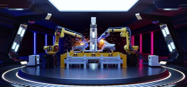 Assemblaggio automobilistico robotico in sci fi.