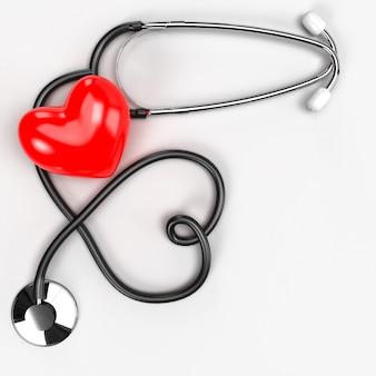 Assistenza sanitaria medica e servizio stetoscopio con un concetto di assistenza sanitaria cuore rosso. la protezione previene la diffusione di germi e batteri ed evita le infezioni del virus corona covid-19