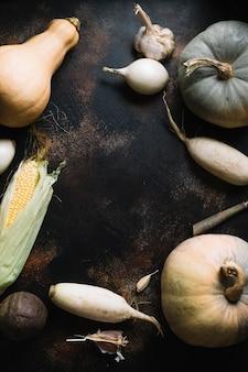 Assortimento delle verdure di autunno sul fondo dello spazio della copia di lerciume