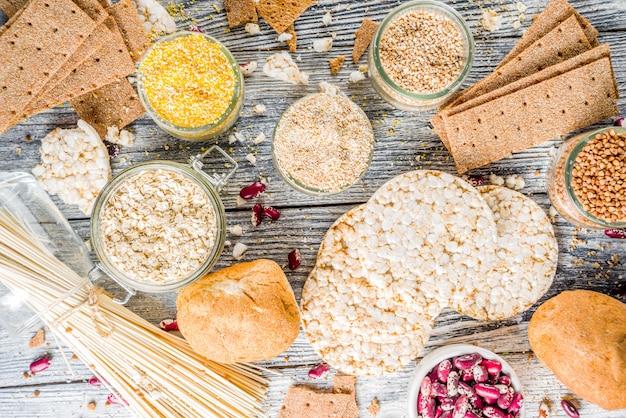 Assortimento di alimenti senza glutine