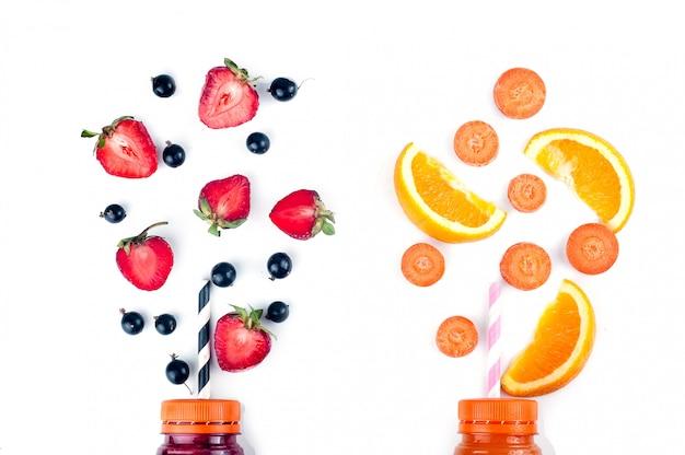 Assortimento di frullati di frutta e verdura