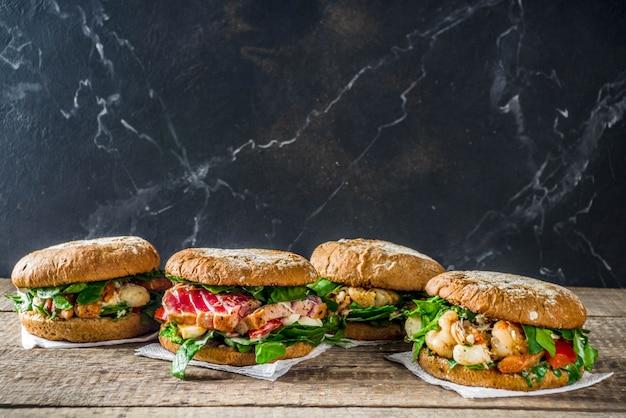 Assortimento di hamburger di pesce e pesce