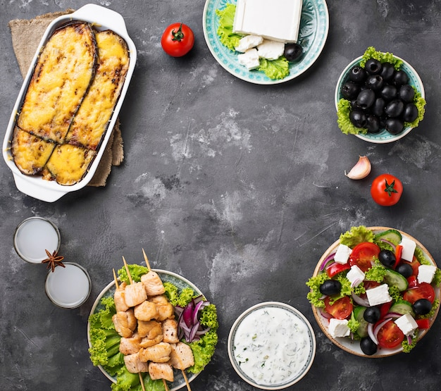 Assortimento di piatti tradizionali greci