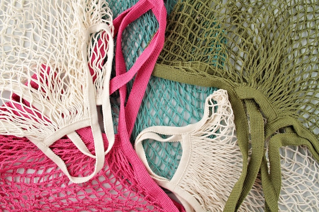 Assortimento di sacchetti o shopper in rete riutilizzabili