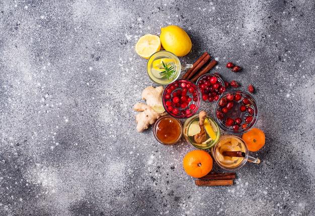 Assortimento di tè sano per l'inverno per aumentare l'immunità