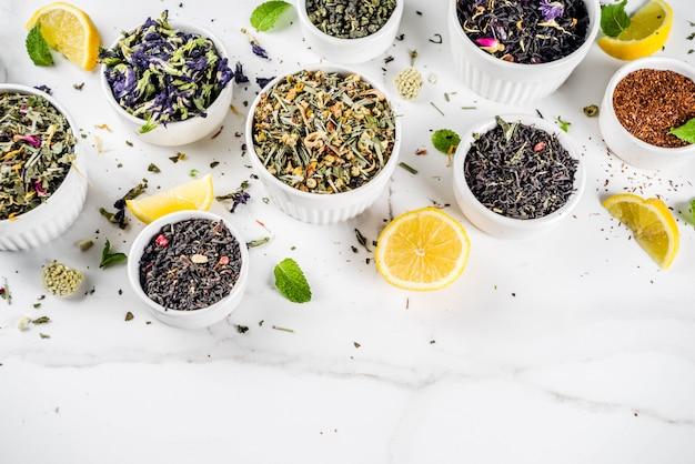 Assortimento di vari tipi di tè