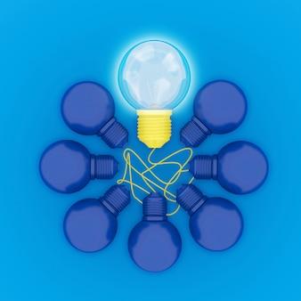 Astratte lampadine gialle differenti che emettono luce con forma del cerchio su fondo blu