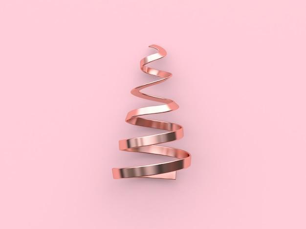 Astratto albero di natale-nastro bobina metallico rosa lucido riflessione vacanze di natale nuovo anno