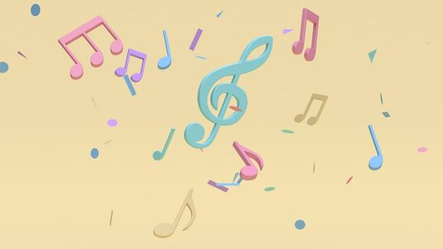 Astratto colorato molte note musicali, chiave sol stile cartone animato giallo morbido sfondo minimo rendering 3d