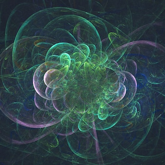 Astratto fiore incandescente frattale surreale in movimento