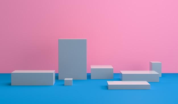 Astratto minimalista, figure geometriche primitive, colori pastello, rendering 3d.