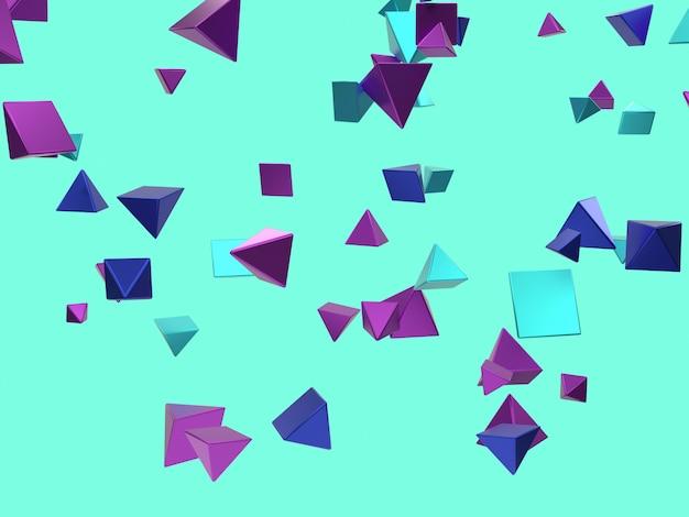 Astratto molte forme geometriche che cadono / levitazione rosa blu viola metallico riflessione 3d rendering
