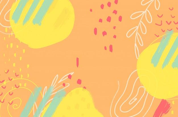 Astratto sfondo colorato con tratti di pennello e forme