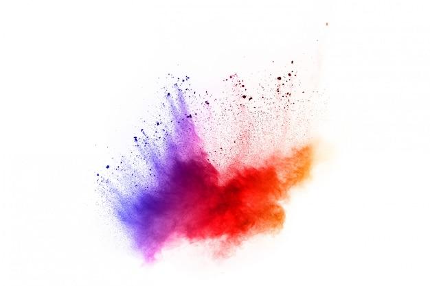 Astratto sfondo di polvere splatted. esplosione di polvere colorata su sfondo bianco.