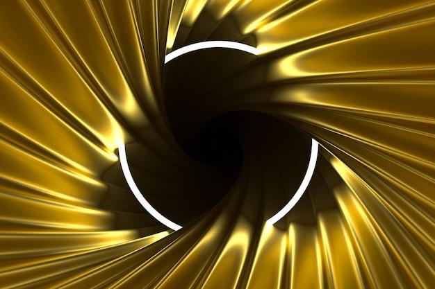 Astratto sfondo oro illuminato con cornice al neon illuminata