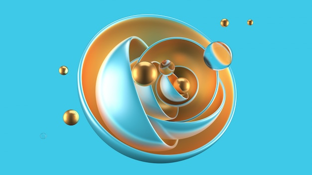 Astratto sfondo turchese con palline, metallo, oro. rendering 3d.