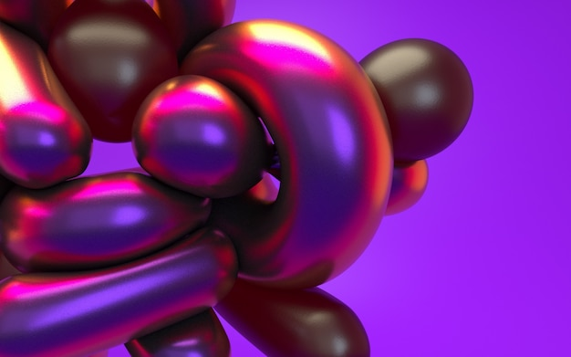 Astrazione della rappresentazione 3d alla luce al neon porpora rosa con la riflessione lucida. sfondo olografico effetto iridescente.