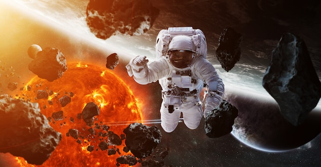 Astronauta che galleggia nella rappresentazione dello spazio 3d
