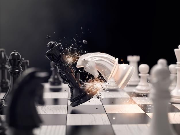 Attacco di scacchi cavaliere per vincere la gara.