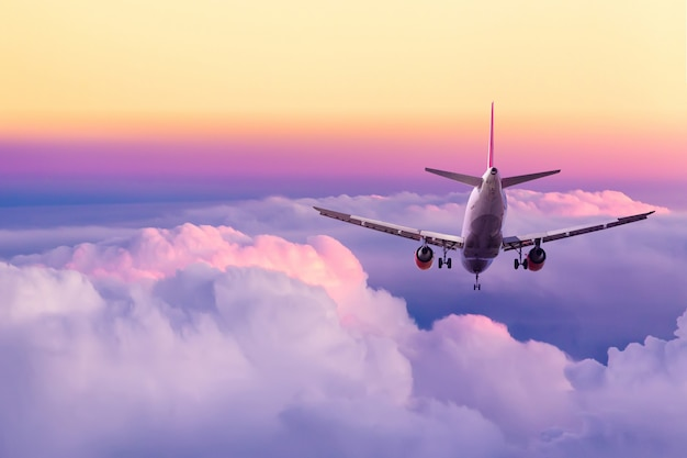Atterraggio di aeroplano del passeggero contro il cielo variopinto giallo e rosa stupefacente con le nuvole durante il tramonto.