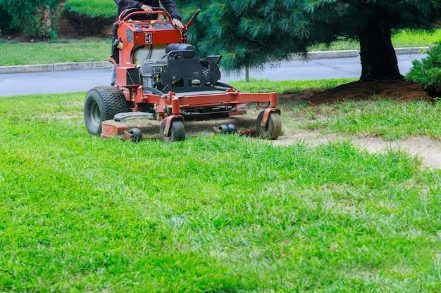 Attività di giardinaggio, tosaerba che taglia l'erba.