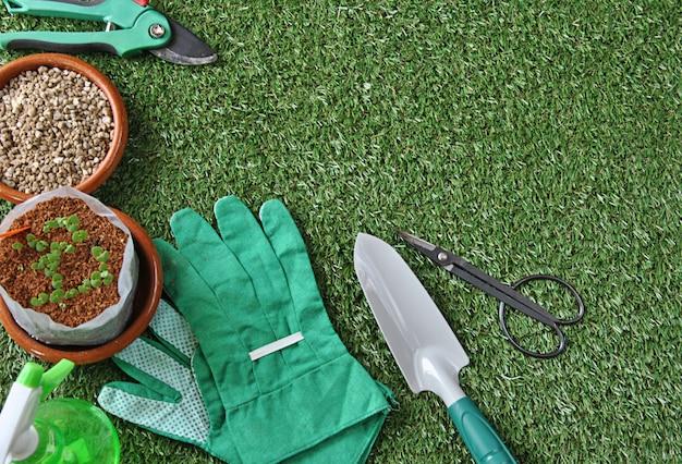 Attrezzi da giardino su erba e tavolo in legno con vari tipi di piante