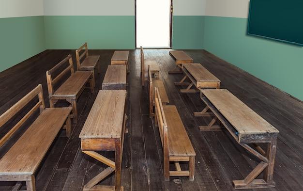 Aula antica a scuola con file di scrivanie di legno vuote