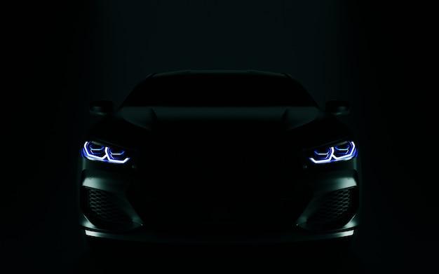Auto moderna nera. illustrazione 3d