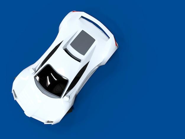 Auto sportiva bianca ad alta velocità concettuale uniforme blu