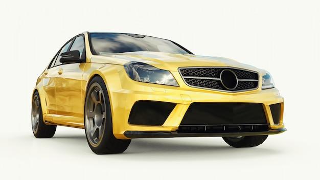 Auto sportiva super veloce colore oro metallizzato. berlina a forma di corpo. il tuning è una versione di una normale auto di famiglia. rendering 3d.